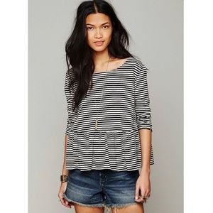 We The Free In A Line Green Striped Peplum Tee